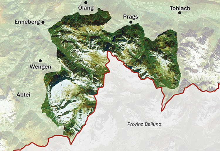 Map of the Fanes-Sennes-Prags / Fanes-Senes-Braies Nature Park
