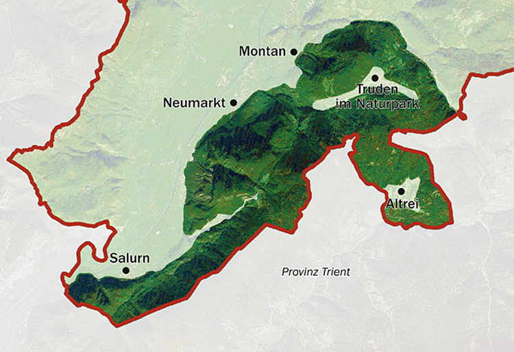 Map of the Trudner Horn Monte Corno Nature Park